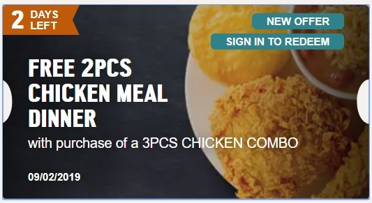 Popeyes Promotion September 2019: Free 2-Piece Chicken Meal