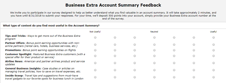 American Airlines Business Extra Promotion Earn 500 Bonus Points