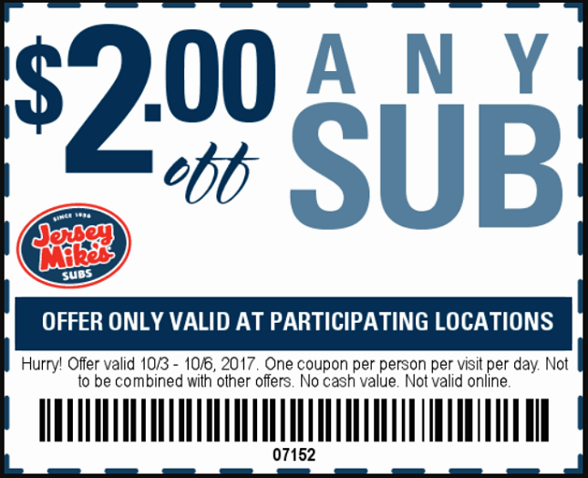 Jersey mike's coupon code