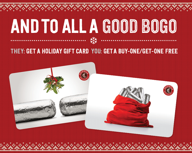 gift cards must be purchased in a single transaction at a chipotle restaurant total 30 or more and be accompanied by a chipotle restaurant receipt to - Holiday Gift Card Promotions 2017