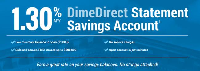 DimeDirect Statement Savings Account 1.30% APY