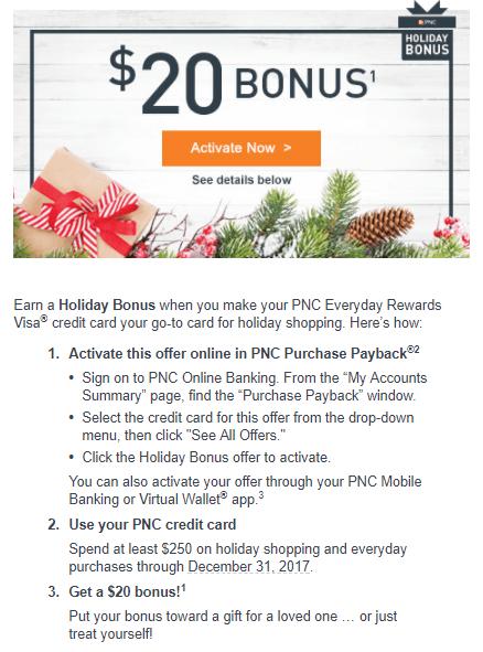 Pnc holiday bonus offer 20 bonus targeted pnc holiday bonus offer info reheart Images