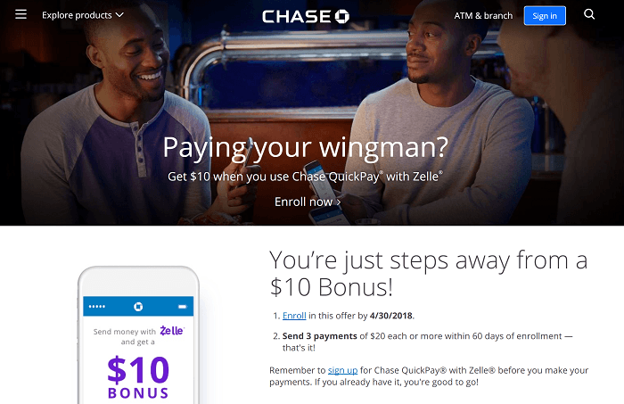 Chase Quickpay Zelle Promotion Earn Up To 10 Bonus Or 500 Ur Ymmv