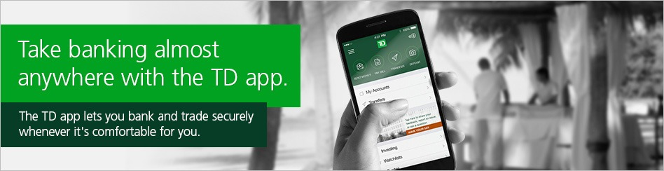 Td bank convenience checking account 150 bonus promotion manage accounts on the go view account activity and balances pay bills automatically set up e mail alerts and more colourmoves