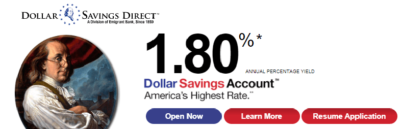Dollar Savings Direct 1.80% APY