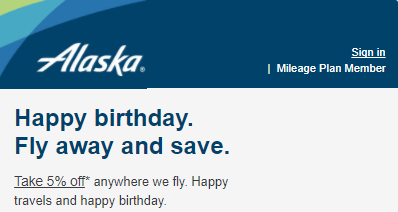 Alaska Airlines Birthday Discount Promotion Receive Up To