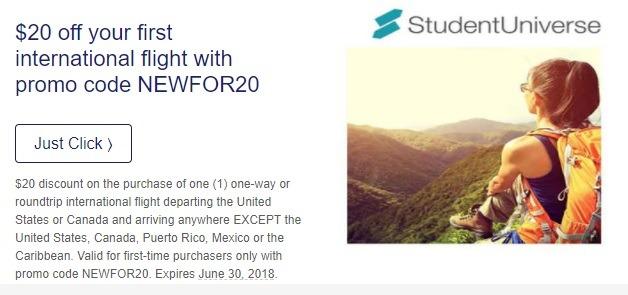Studentuniverse coupon 2018
