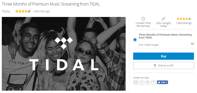 LivingSocial TIDAL Free Trial Promotion: 3 Months Free