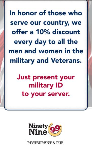 99 restaurant pub military discount promotion 10 off for Restaurants that offer military discount
