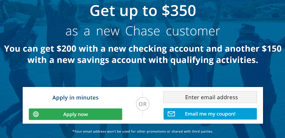 Chase Total Checking & Savings Account: $350 Bonus Promotion