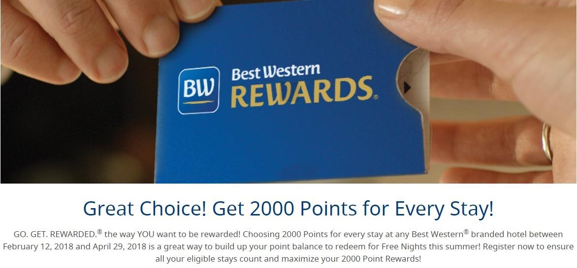 Best Western Bonus Miles Promotion: 2,000 Points Per Stay