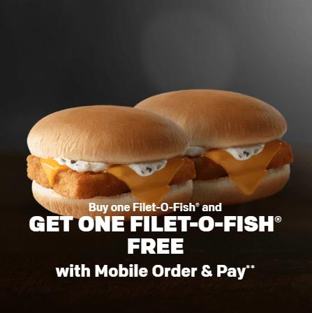 Mcdonald s mobile order pay promotion bogo filet o fish for Filet o fish deal