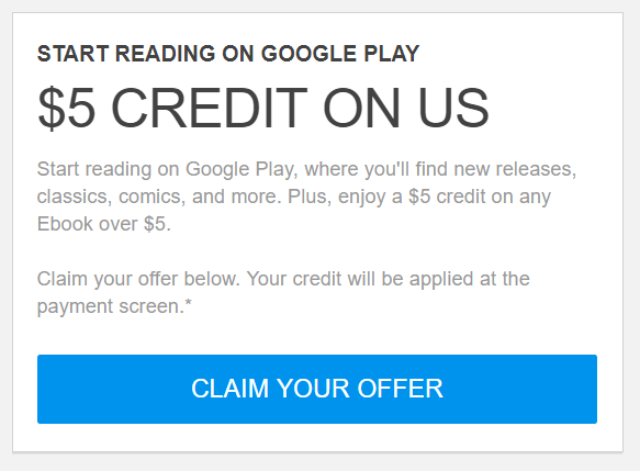 Google play first ebook credit free 5 an on store price greater than 5 usd before tax is imposed open to participants who receive a promotional code from google offer ends march 31 2018 fandeluxe Choice Image