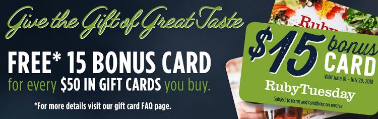 Ruby tuesday gift card promotion 15 bonus with 50 gift card purchase how to get 15 bonus ruby tuesday gift card colourmoves