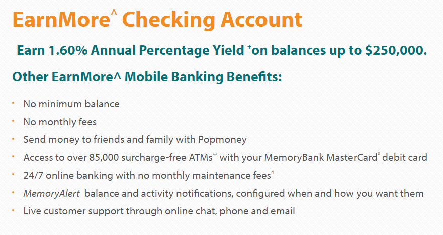EarnMore Checking Benefits