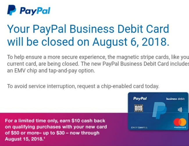 the reward will be added to the paypal account linked to the card used to make the qualifying purchases within 30 days of purchase - Paypal Business Debit Card