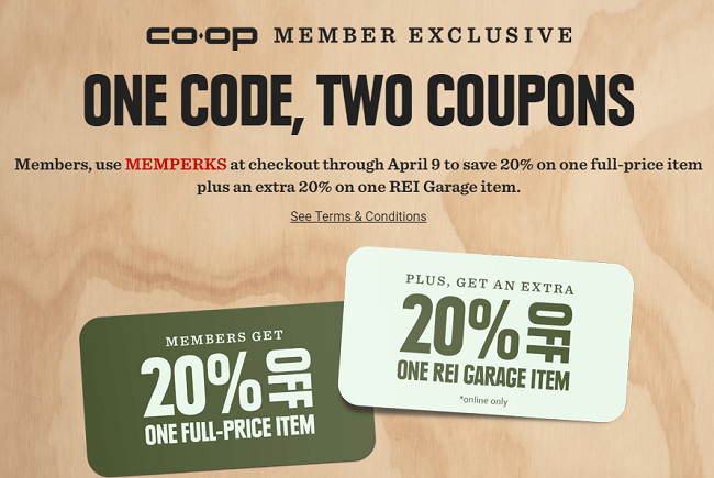 Rei 20 coupon schedule 2018