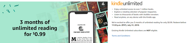 Amazon Kindle Unlimited Trial: 3 Months for $0 99