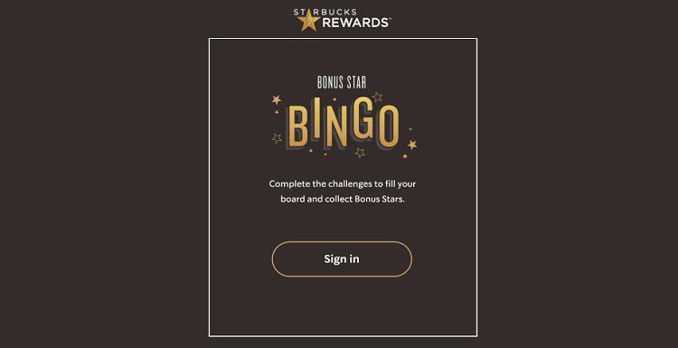 Starbucks bonus bingo