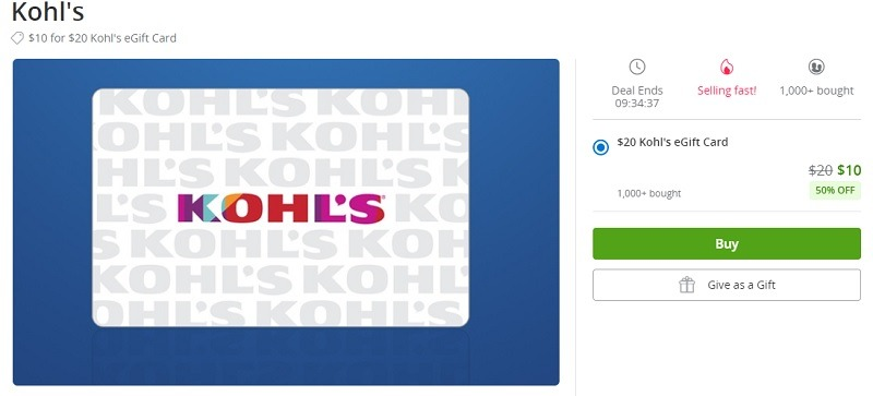 Kohl's GC Promotion Groupon