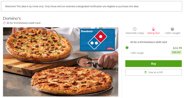 Groupon Domino S Gift Card Promotion 10 Domino S Egift Card For 5 Ymmv