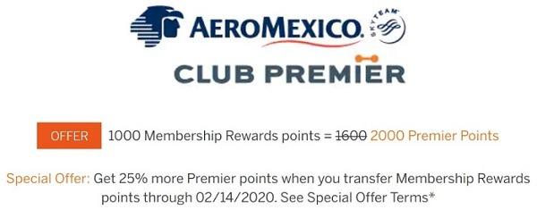 Aeromexico 25 percent bonus points