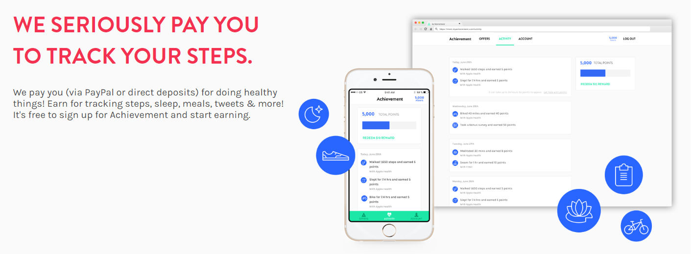 Achievement App Promotion: Get Paid for Exercising, Being