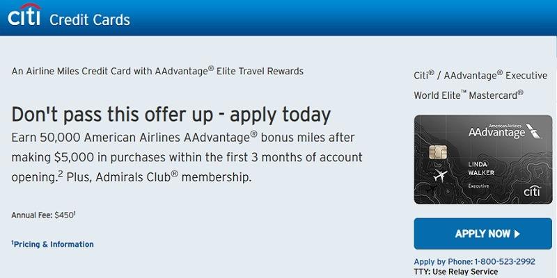 Citi Mastercard Sign In >> Citi Aadvantage Executive World Elite Mastercard 50 000
