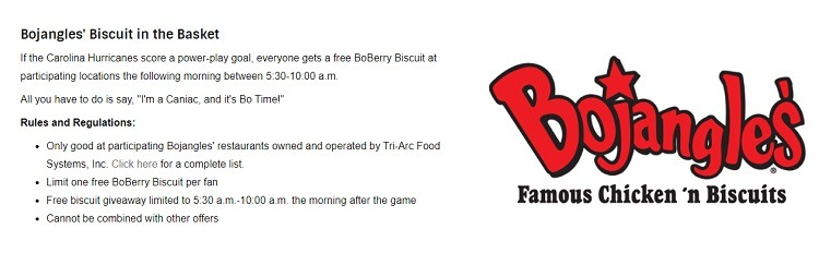 Free BoBerry Biscuit when Carolina Hurricanes Score a Power-Play Goal