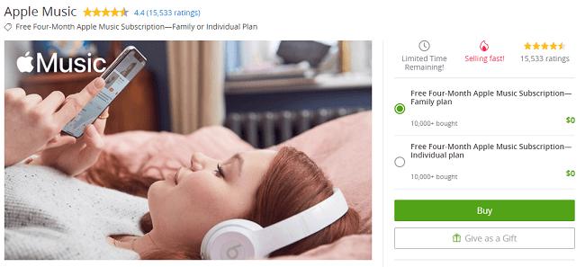 Groupon Apple Music Subscription Promotion: Get Four Months