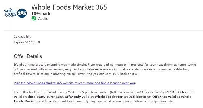 Chase Offers Whole Foods Market Promotion: 10% Back