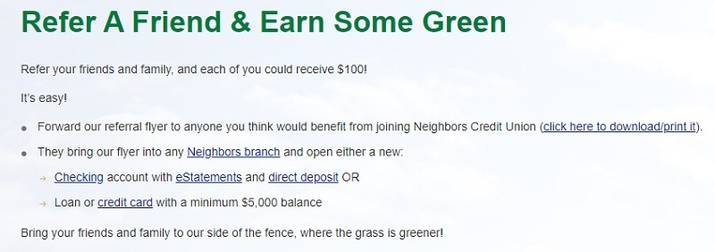 Neighbors Credit Union Promotions