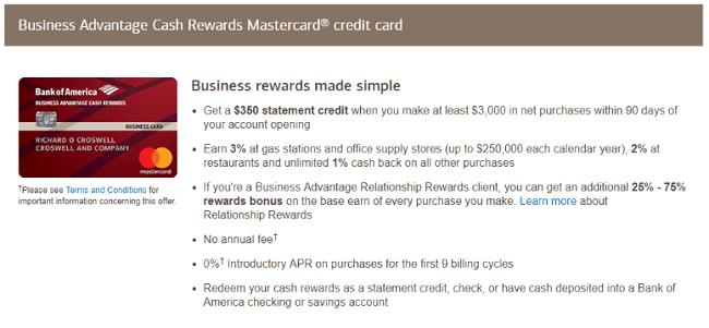 Bank of america business advantage cash rewards mastercard credit business advantage cash rewards card bonus reheart Gallery