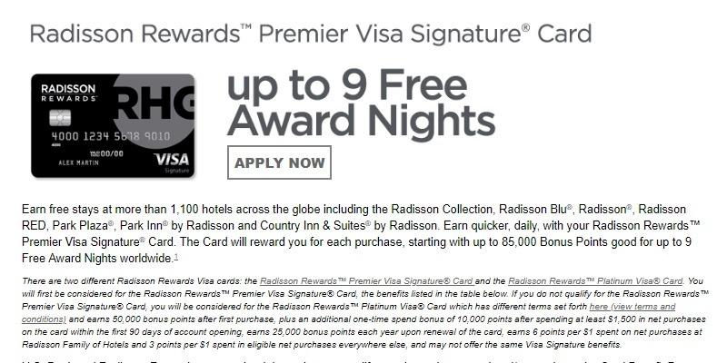 radisson rewards card offer