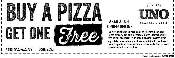UNO Pizza BOGO Promotion