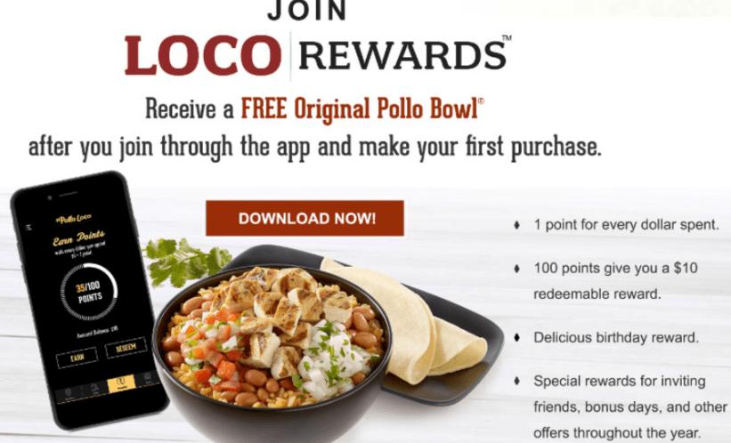 El Pollo Loco Rewards App Promotion: Free Original Pollo Bowl