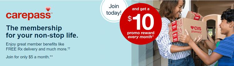 cvs pharmacy carepass promotion  join  u0026 get  10 promo