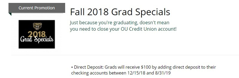 Oakland University Credit Union Promotion