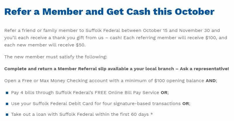 Suffolk Federal Credit Union 100 Referral Bonus Ny