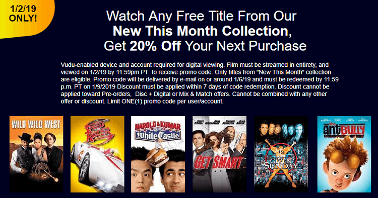 VUDU Movie Rental Promotion: 20% Off Movie Purchase