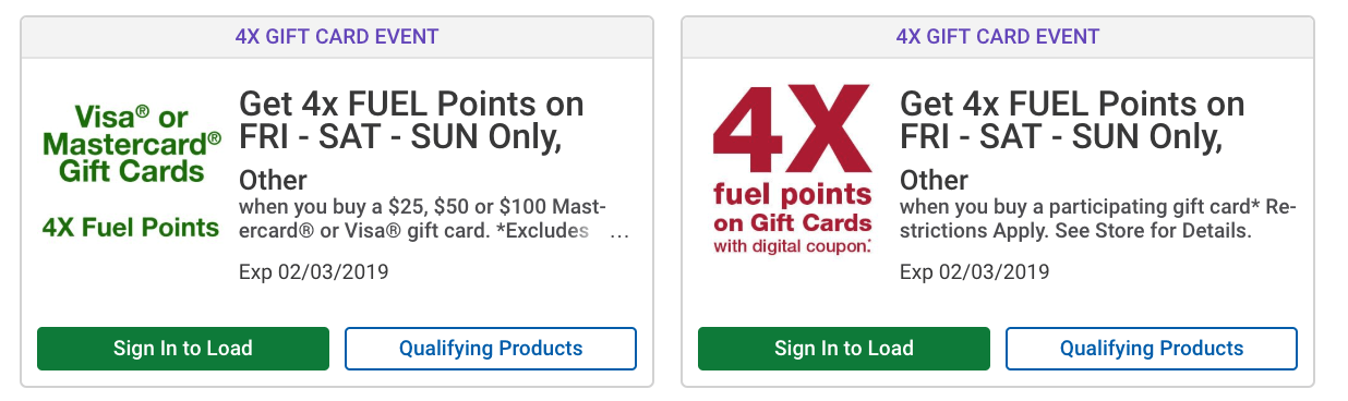 Kroger 4x Fuel Rewards Promotion All Gift Cards Including Visa