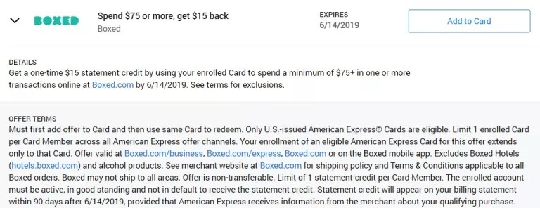 Amex Offers Boxed Promotion