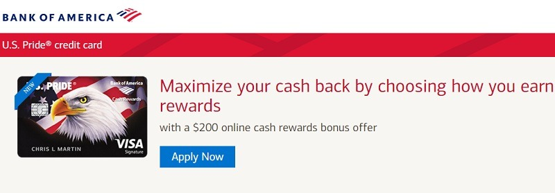 Bank of America U.S. Pride BankAmericard Cash Rewards Visa Card Promotion: