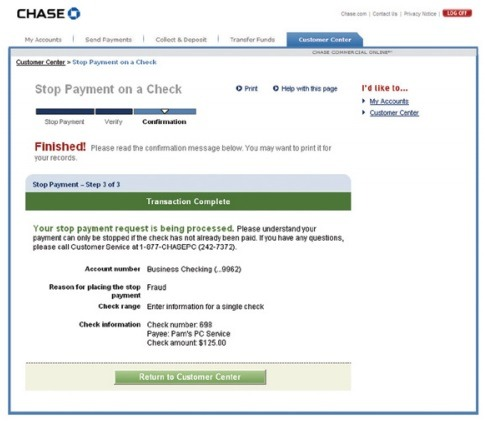 How to Stop Payment for a Chase Check