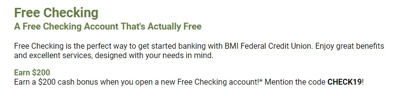 BMI Federal Credit Union Promotion