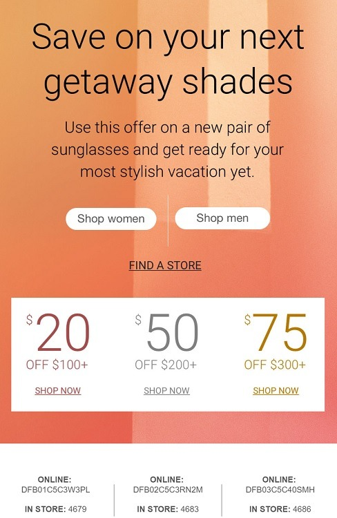 graphic relating to Sunglass Hut Printable Coupons titled Sungl Hut Discounts, Coupon codes, Low cost Promo Codes