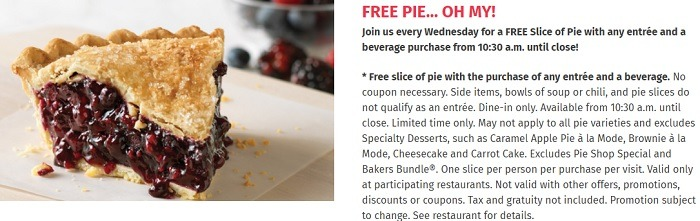 Free Pie Every Wednesday w/ Purchase