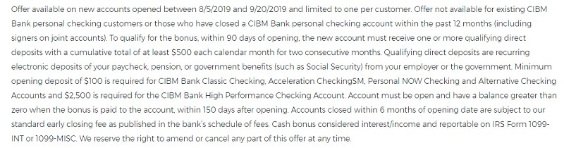 CIBM Bank Promotion