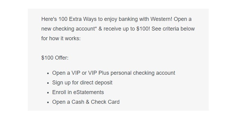 Western State Bank Promotion