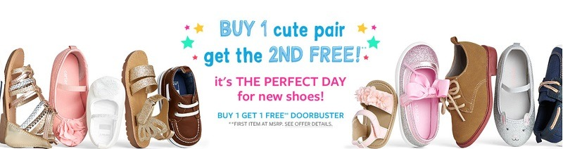 Carter S Discount Promotion Bogo Free Kids Shoes Extra 20 Off